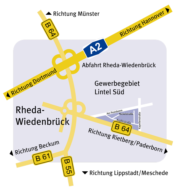 Wintec Tor-Systeme e.k - Nickelstraße 49 33378 Rheda-Wiedenbrück | Anfahrtsskizze